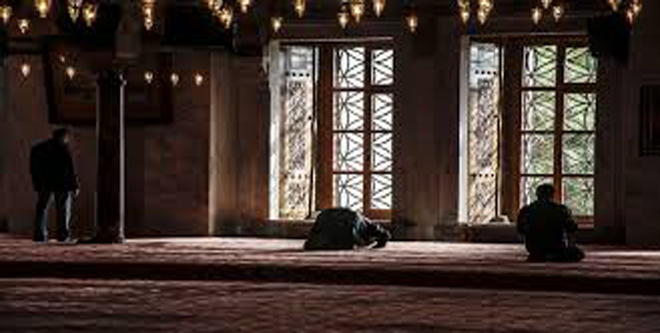 someone praying in the mosque - ramadan