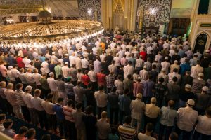 The Prophet observed Tarawih prayer in the mosque.