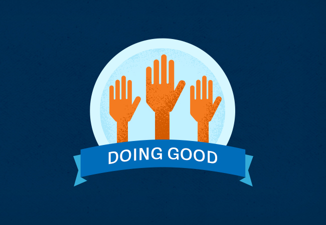 Doing good written and three hands